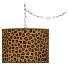 Swag Style Safari Cheetah Giclee Shade Plug-In Chandelier