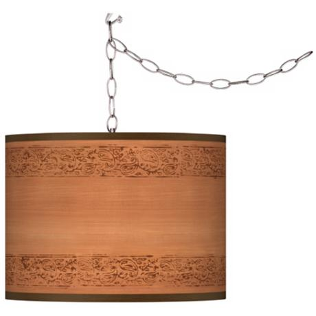 Swag Style Paisley Trim Giclee Shade Plug-In Chandelier