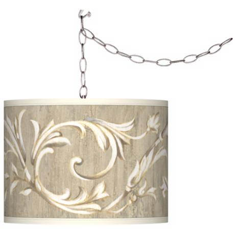 Swag Style Laurel Court Giclee Shade Plug-In Chandelier