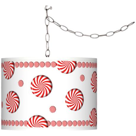 Peppermint Pinwheels Giclee Shade Plug-In Swag Chandelier