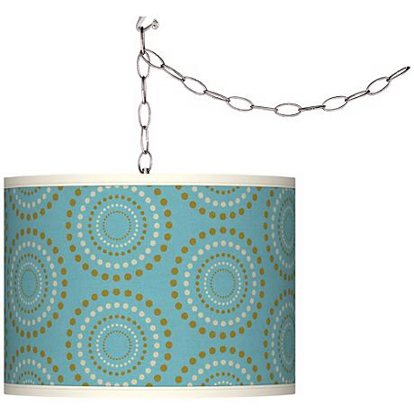 Blue Calliope Linen Brushed Silver Plug-In Swag Pendant