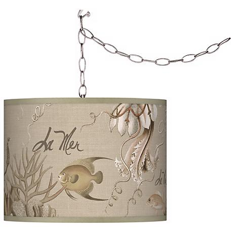 Swag Style La Mer Jellyfish Shade Plug-In Chandelier