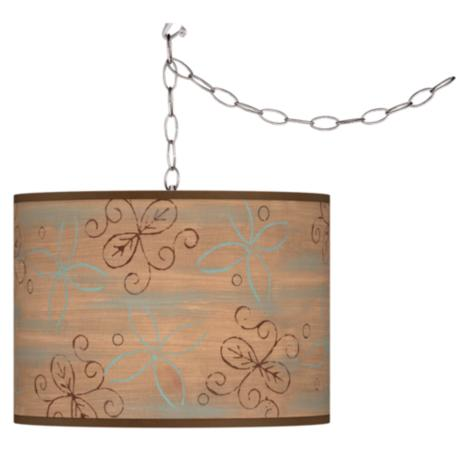 Swag Style Cedar Lake Shade Plug-In Chandelier