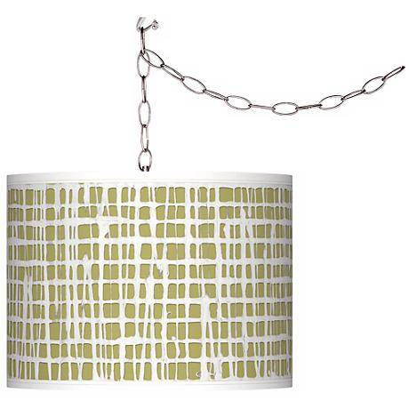 Swag Style Ecru Screen Linen Giclee Shade Plug-In Chandelier