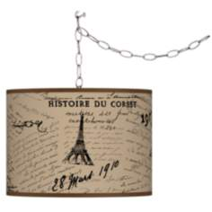 Letters to Paris Giclee Plug-In Swag Chandelier