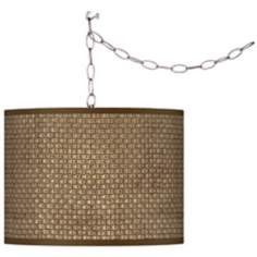 Swag Style Interweave Print Shade Plug-In Chandelier