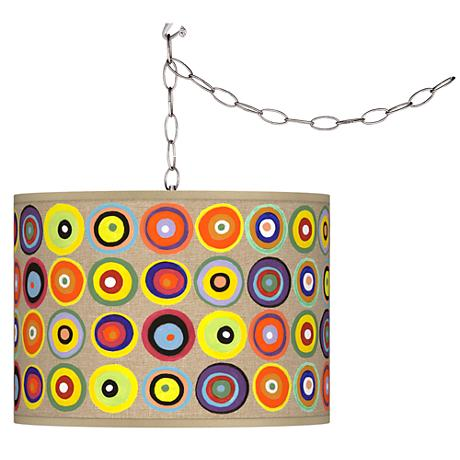 Marbles in the Park Giclee Shade Brushed Steel Swag Pendant