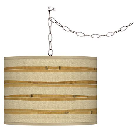 "Bamboo Wrap 13 1/2"" Wide Plug-In Swag Pendant"