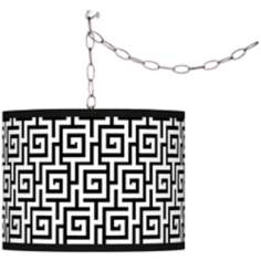 Swag Style Greek Key Giclee Plug-In Chandelier