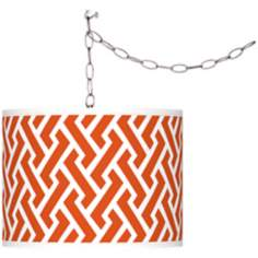 Swag Style Red Brick Weave Giclee Plug-In Chandelier
