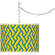 Swag Style Yellow Brick Weave Giclee Plug-In Chandelier