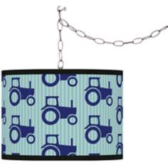 Kathy Ireland Blue Tractor Time Swag Plug-In Chandelier