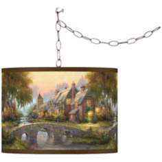 Thomas Kinkade Cobblestone Bridge Swag Chandelier