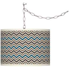 Swag Style Zig Zag Shade Plug-In Chandelier