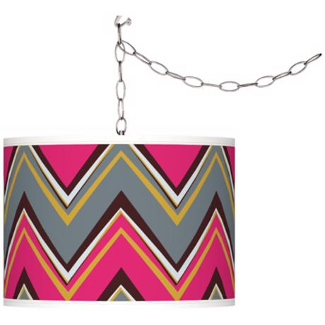 Stacy Garcia Chevron Pride Pink Swag Style Plug-In Chandelier