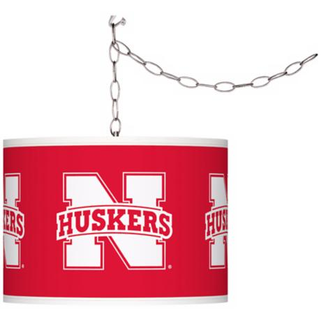 "Nebraska Huskers 13 1/2"" Wide Plug-In Swag Chandelier"