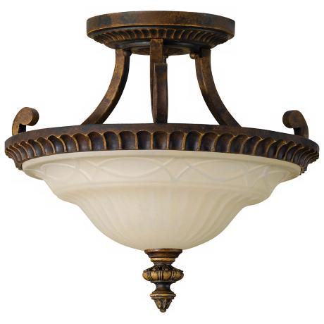 "Drawing Room 17"" Diameter Semi-Flushmount Ceiling Fixture"