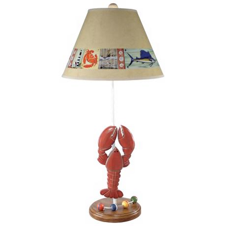 Nautical Lobster Table Lamp with Paul Brent Shade