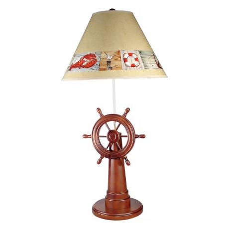 Ship's Wheel Nautical Table Lamp