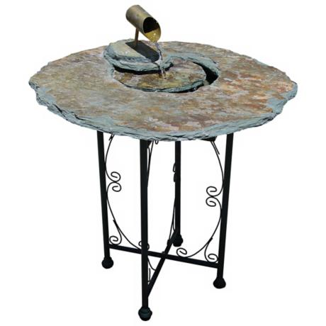 Natural Slate End Table Indoor Water Fountain