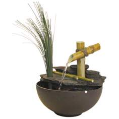 Calming Bamboo and Grass Tabletop Fountain