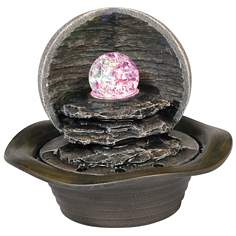Faux Stone Crystal Ball Light Indoor Fountain