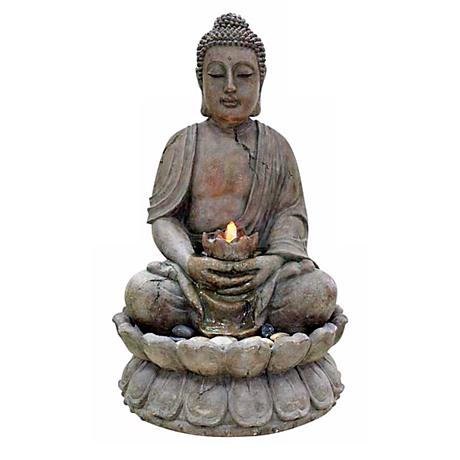 Illuminated Buddha Outdoor Fountain with LED Light
