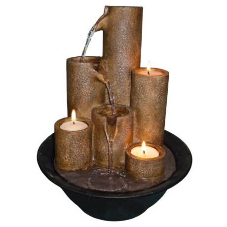 Three Candles Tabletop Fountain