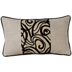 Black Babylon Swirl Patchwork Rectangular Pillow
