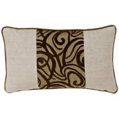Brown Babylon Swirl Patchwork Rectangular Pillow