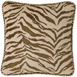"Brown & White Zebra 18"" Square Pillow"