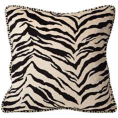 "Black and White Zebra 18"" Square Pillow"