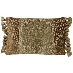 Vintage Green Fringed Accent Pillow