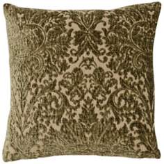 "Sage Green Vintage Damask 22"" Square Pillow"