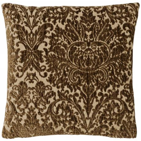 "Brown Vintage Damask 17"" Square Pillow"