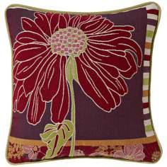 "Red Daisy 19"" Square Pillow"