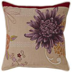 "Purple Dahlia Stone Square 19"" Square Pillow"