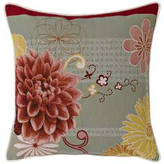 "Red Dahlia Grey 19"" Square Pillow"