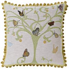 "Butterfly Tree White 19"" Square Pillow"