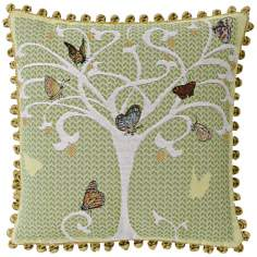"Butterfly Tree Celadon 19"" Square Pillow"