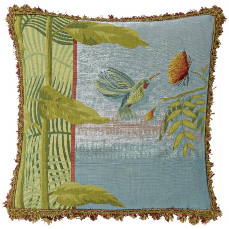 "Hummingbird 10"" Blue Square Pillow"