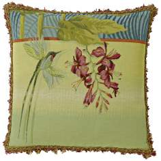 "Hummingbird 10"" Green Square Pillow"