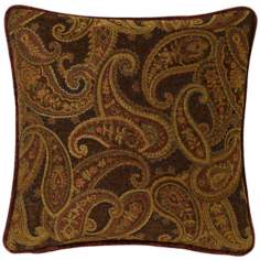 "Multi-Bark Paisley 20"" Square Pillow"