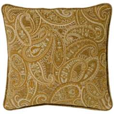 "Beige-Gold Paisley 18"" Square Pillow"