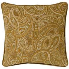 "Beige-Gold Paisley 20"" Square Pillow"