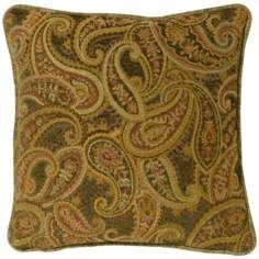 "Rose-Green Paisley 18"" Square Pillow"