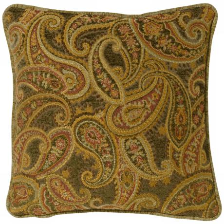 "Rose-Green Paisley 20"" Square Pillow"