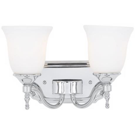 "Tritan Chrome Finish 13"" Wide Two Light Bathroom Fixture"