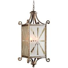 Lyon Collection Four Light Silver Lantern Pendant