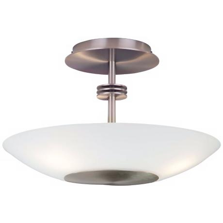 Holtkoetter Satin Nickel White Halogen Ceiling Light Fixture